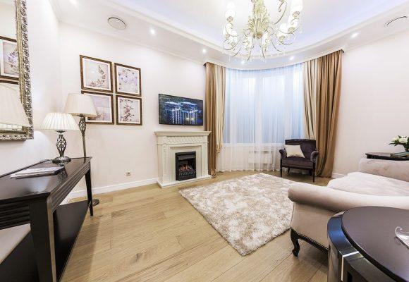 Гостиная, 3-комнатная квартира в Москве, 84м²