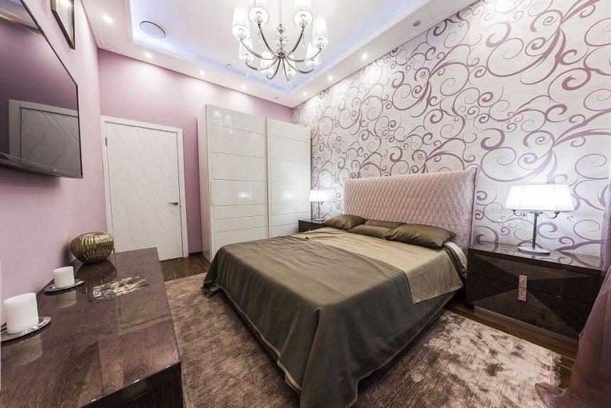 Спальня, 2-комнатная евро-квартира в Москве, 78м²