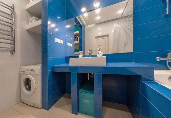 Ванная комната, 3-комнатная евро-квартира в Москве, 68м²